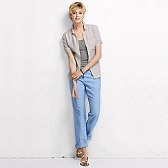 Lands' End - Blue women's petite linen drawstring trousers