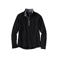 Lands' End - Black men's regular thermacheck-100 fleece half-zip pullover