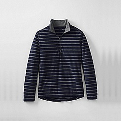 Lands' End - Blue men's regular patterned thermacheck-100 fleece half-zip pullover