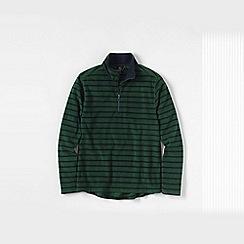 Lands' End - Green men's regular patterned thermacheck-100 fleece half-zip pullover