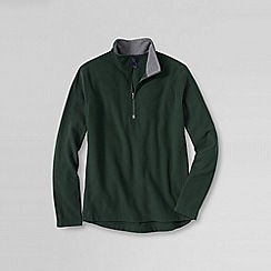 Lands' End - Green men's regular textured thermacheck-100 fleece half-zip pullover