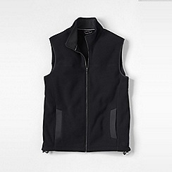 Lands' End - Black men's regular thermacheck 200 fleece gilet