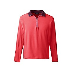 Lands' End - Red tall textured thermacheck-100 fleece half-zip pullover