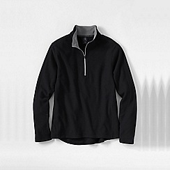 Lands' End - Black men's tall textured thermacheck-100 fleece half-zip pullover