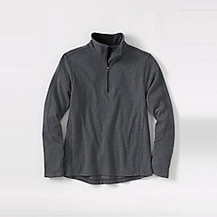 Lands' End - Grey tall textured thermacheck-100 fleece half-zip pullover