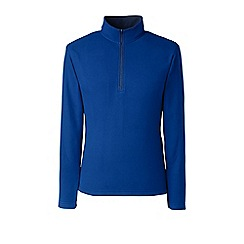 Lands' End - Blue tall textured thermacheck-100 fleece half-zip pullover