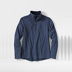 Lands' End - Blue men's tall textured thermacheck-100 fleece half-zip pullover