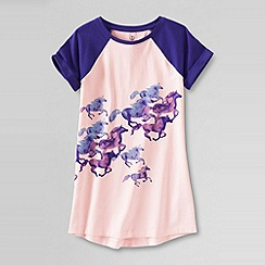 Lands' End - Pink little girls' short sleeve graphic long tee