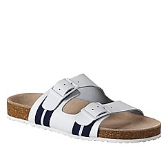 Lands' End - White women's leather slide sandal