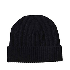 Lands' End - Black men's cashmere/wool cable knit hat