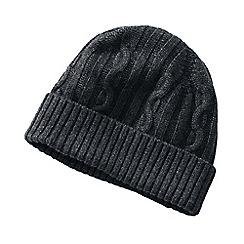 Lands' End - Grey cashmere/wool cable knit hat