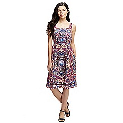 Lands' End - Blue women's pattern linen sun dress