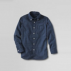 Lands' End - Blue boys' long sleeve pattern poplin shirt