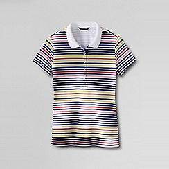Lands' End - White women's short sleeved pima ribbed trim slim fit polo