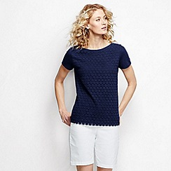 Lands' End - Blue women's short sleeve lace front tee