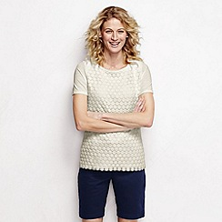 Lands' End - Cream women's short sleeve lace front tee
