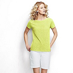 Lands' End - Yellow short sleeve lace front tee