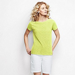 Lands' End - Yellow petite short sleeve lace front tee