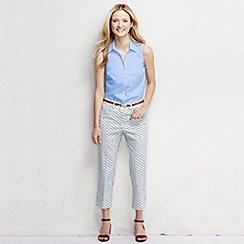 Lands' End - Blue women's pattern mid rise cropped chinos