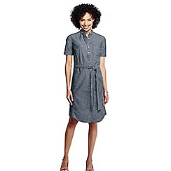 Lands' End - Blue women's short sleeve chambray shirtdress