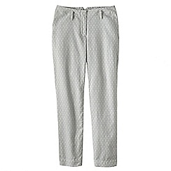Lands' End - Grey patterned mid rise linen crops