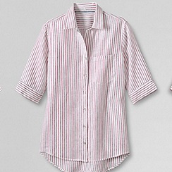 Lands' End - Pink women's short sleeve patterned linen top