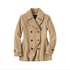 Lands' End - Cream women's luxe wool pea coat