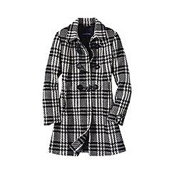 Lands' End - Black plaid wool toggle coat
