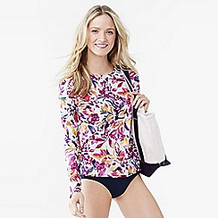 Lands' End - Multi women's swim tee rash guard - floral