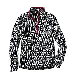 Lands' End - Black print everyday fleece 100 half-zip