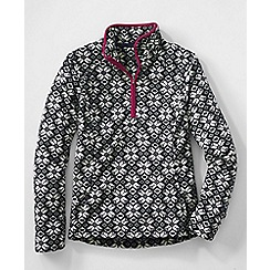 Lands' End - Black women's print everyday fleece 100 half-zip