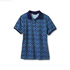 Lands' End - Blue tall short sleeve pique ribbed trim polo