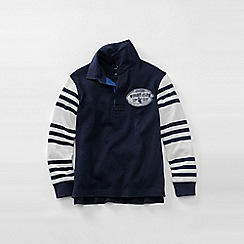 Lands' End - Blue boys' stripe sleeve rugby top