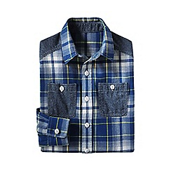Lands' End - Blue little boys' colourblock flannel shirt