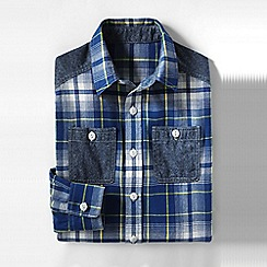 Lands' End - Blue boys' colourblock flannel shirt