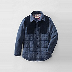 Lands' End - Blue boy's long sleeve quilted shirt jacket