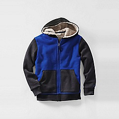 Lands' End - Blue little boys' colourblock sherpa-lined hoodie