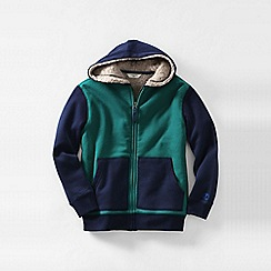 Lands' End - Green boys' colourblock sherpa-lined hoodie