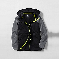 Lands' End - Black zip-front hooded tricot jacket