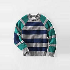 Lands' End - Grey little boys' drifter stripe blocked crew neck sweater