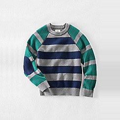 Lands' End - Grey boys' drifter stripe blocked crew neck sweater