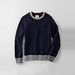 Lands' End - Blue boys' long sleeve donegal drifter crew neck sweater