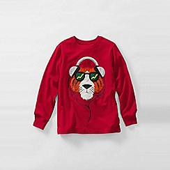 Lands' End - Red long sleeve applique graphic tee