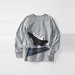 Lands' End - Grey little boys' long sleeve applique graphic tee