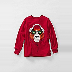 Lands' End - Red boys' long sleeve applique graphic tee