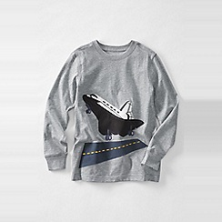 Lands' End - Grey boys' long sleeve applique graphic tee