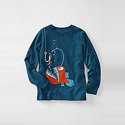 Lands' End - Blue boys' long sleeve applique graphic tee