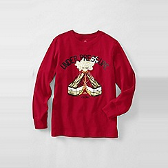 Lands' End - Red boys' long sleeve graphic tee