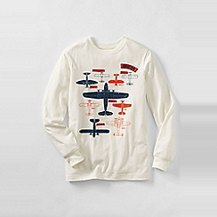 Lands' End - Cream boys' long sleeve graphic tee