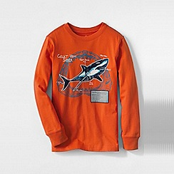 Lands' End - Orange boys' long sleeve graphic tee